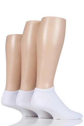Mens 3 Pair Glenmuir Bamboo Trainer Socks White 7-11 Mens