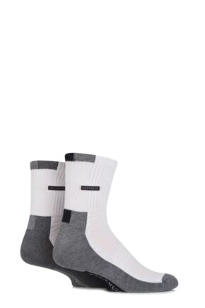 Mens 2 Pair Glenmuir Bamboo Ankle Length Half Cushioned Sports Socks with Arch Support White