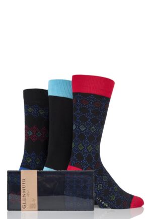 Mens 3 Pair Glenmuir Fairisle Diamond and Plain Bamboo Socks In Gift Box