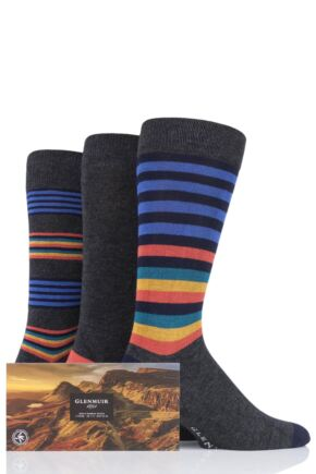 Mens 3 Pair Glenmuir Stripes and Plain Gift Boxed Bamboo Socks
