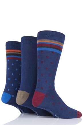 Mens 3 Pair Glenmuir Gift Boxed Spot Bamboo Socks