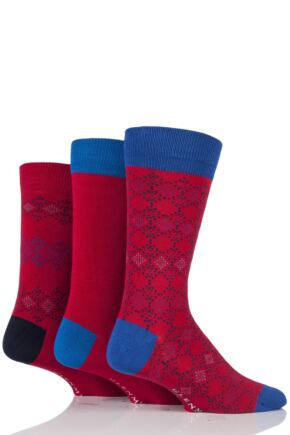 Mens 3 Pair Glenmuir Fairisle Diamond and Plain Bamboo Socks In Gift Box Red 7-11 Mens