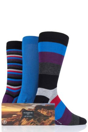 Mens 3 Pair Glenmuir Gift Boxed Mixed Stripes Bamboo Socks