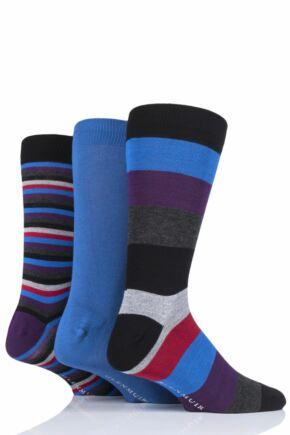 Mens 3 Pair Glenmuir Gift Boxed Mixed Stripes Bamboo Socks Black 1 7-11