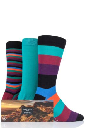 Mens 3 Pair Glenmuir Gift Boxed Mixed Stripes Bamboo Socks Black 7-11