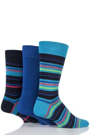 Mens 3 Pair Glenmuir Multi Stripe and Plain Bamboo Socks In Gift Box