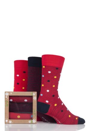 Mens 3 Pair Glenmuir Dots and Plain Bamboo Socks In Bamboo Gift Box Red 7-11