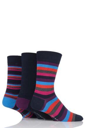 Mens 3 Pair Glenmuir Stripes and Plain Bamboo Socks In Bamboo Gift Box