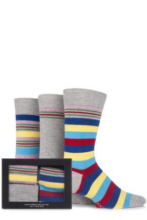 Mens 3 Pair Glenmuir Gift Boxed Plain and Multi Striped Bamboo Socks