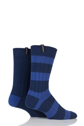 Mens 2 Pair Glenmuir Cotton Blend Block Stripe and Plain Ribbed Leisure Socks