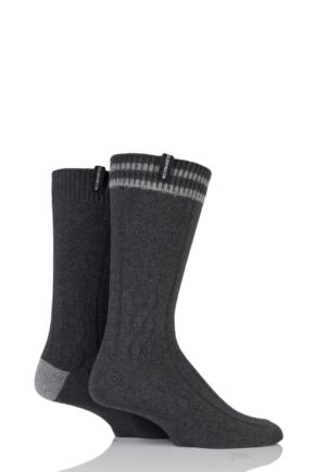 Mens 2 Pair Glenmuir Cotton Blend Cable Knit and Stripe Leisure Socks