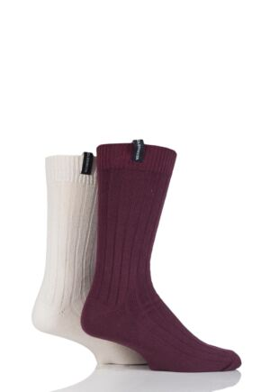 Mens 2 Pair Glenmuir Plain Rib Lightweight Boot Socks