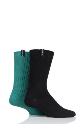 Mens 2 Pair Glenmuir Lightweight Ribbed Bamboo Boot Socks