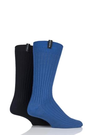 Mens 2 Pair Glenmuir Lightweight Ribbed Bamboo Boot Socks