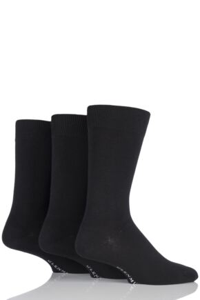 Mens 3 Pair Glenmuir Classic Bamboo Plain Socks Black