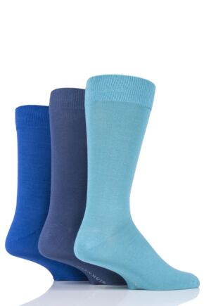Mens 3 Pair Glenmuir Classic Bamboo Plain Socks