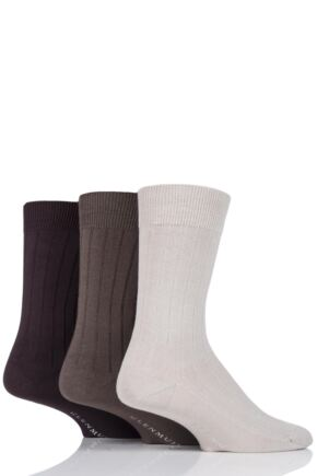 Mens 3 Pair Glenmuir Classic Bamboo Ribbed Socks Beige
