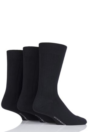 Mens 3 Pair Glenmuir Classic Bamboo Ribbed Socks Black