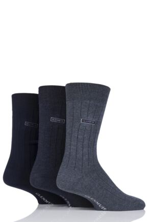 Mens 3 Pair Glenmuir Classic Bamboo Ribbed Socks