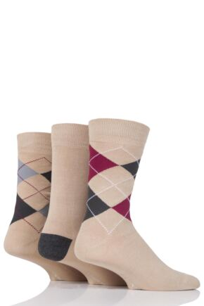 Mens 3 Pair Glenmuir Classic Bamboo Argyle Socks Beige 7-11 Mens