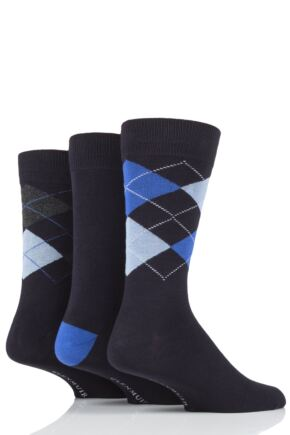 Mens 3 Pair Glenmuir Classic Bamboo Argyle Socks
