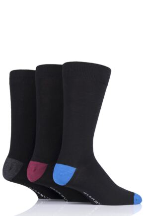 Mens 3 Pair Glenmuir Contrast Heel and Toe Bamboo Socks