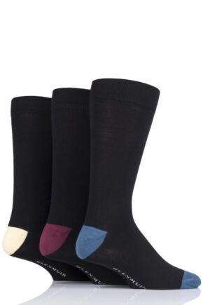 Mens 3 Pair Glenmuir Contrast Heel and Toe Bamboo Socks