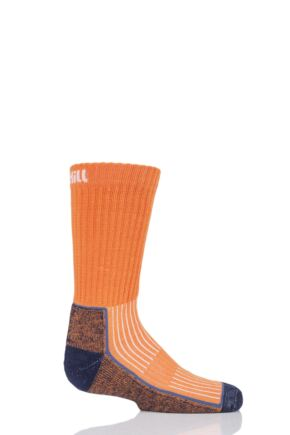 UpHill Sport 1 Pair Kids Made in Finland Hiking Socks Orange 9-11.5 (5-8 Years)