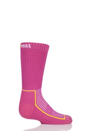 UpHill Sport 1 Pair Kids Made in Finland Hiking Socks Pink 9-11.5 Kids (5-8 Years)