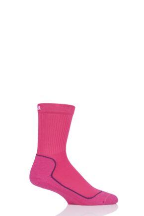 """Boys and Girls 1 Pair UpHillSport  """"Kevo"""" Jr Trekking 4 Layer M4 Socks Pink 2.5-3.5 Kids (9-12 Years)"""