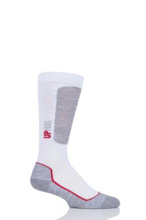 Boys and Girls 1 Pair UpHillSport Alpine Ski Pro 4-layer L3 Socks White 12-2 Kids (7-10 Years)