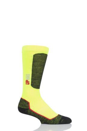 Boys and Girls 1 Pair UpHillSport Alpine Ski Pro 4-layer L3 Socks Hi Vis Yellow 12-2 Kids (7-10 Years)
