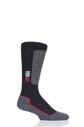Boys and Girls 1 Pair UpHillSport Alpine Ski Pro 4-layer L3 Socks Black 4-5.5 Teens (11-14 Years)