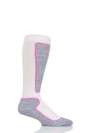 "Boys and Girls 1 Pair UpHillSport ""Valta"" Jr Alpine Ski 4 Layer M5 Socks Off White 2.5-3.5 Kids (9-12 Years)"