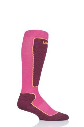 "Boys and Girls 1 Pair UpHillSport  ""Valta"" Jr Alpine Ski 4 Layer M5 Socks Pink 2.5-3.5 Kids (9-12 Years)"