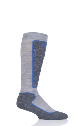 "Boys and Girls 1 Pair UpHillSport  ""Valta"" Jr Alpine Ski 4 Layer M5 Socks Light Grey 2.5-3.5 Kids (9-12 Years)"