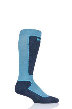 "Boys and Girls 1 Pair UpHillSport ""Valta"" Jr Alpine Ski 4 Layer M5 Socks Ocean 12-2 Kids (7-10 Years)"