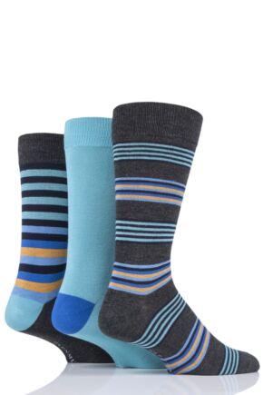 Mens 3 Pair Glenmuir Multi Stripe Bamboo Socks