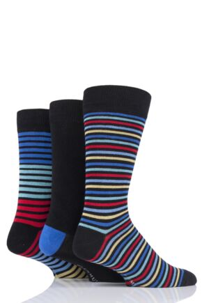Mens 3 Pair Glenmuir Fine Stripe Bamboo Socks