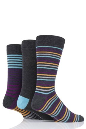 Mens 3 Pair Glenmuir Fine Stripe Bamboo Socks Charcoal 7-11 Mens