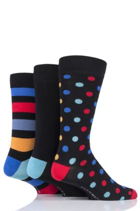 Mens 3 Pair Glenmuir Spots and Stripes Bamboo Socks