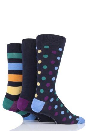 Mens 3 Pair Glenmuir Spots and Stripes Bamboo Socks