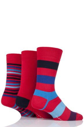 Mens 3 Pair Glenmuir Stripe and Plain Bamboo Socks Red 6-11 Mens