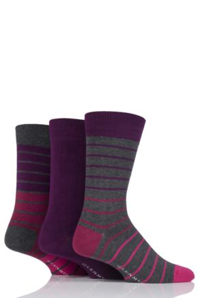 Mens 3 Pair Glenmuir Fine Stripe and Plain Bamboo Socks