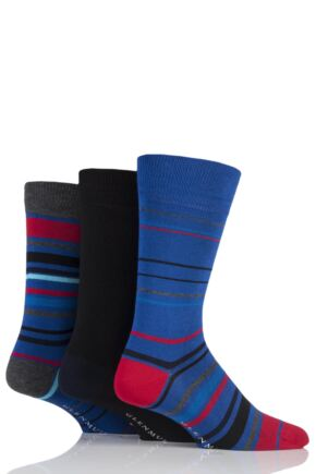 Mens 3 Pair Glenmuir Varied Stripe and Plain Bamboo Socks Blue 7-11 Mens