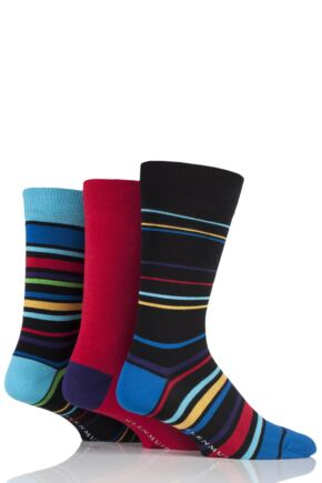 Mens 3 Pair Glenmuir Varied Stripe and Plain Bamboo Socks Black 7-11 Mens
