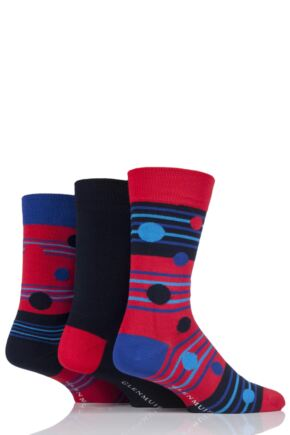 Mens 3 Pair Glenmuir Dot Stripe and Plain Bamboo Socks