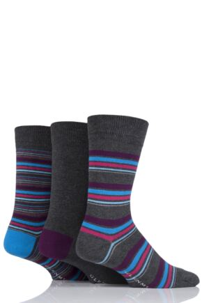 Mens 3 Pair Glenmuir Multi Stripe and Plain Bamboo Socks