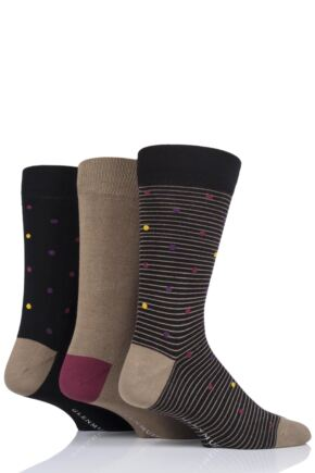 Mens 3 Pair Glenmuir Spots Bamboo Socks