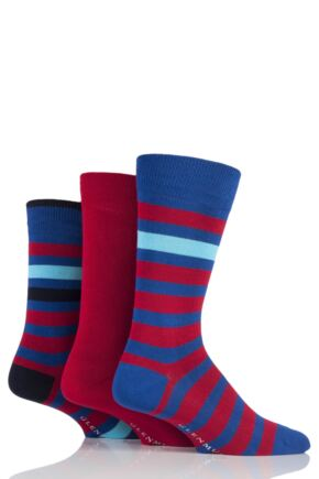 Mens 3 Pair Glenmuir Block Stripe and Plain Bamboo Socks